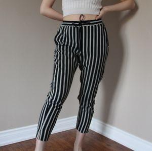 Zara Striped drawstring trousers